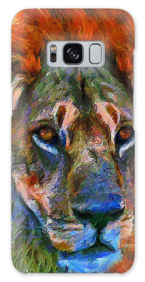 Lion Galaxy S8 Case featuring the mixed media King Of The Wilderness by Georgiana Romanovna