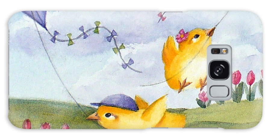 Baby Chicks Print Galaxy S8 Case featuring the painting Kites In March by Janet Zeh