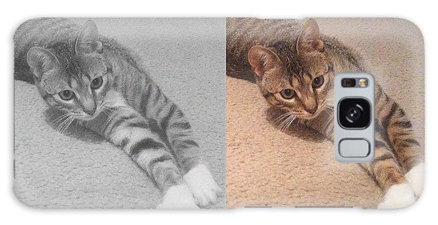 Kitten Galaxy S8 Case featuring the mixed media Kitten by Michelle Hoshino