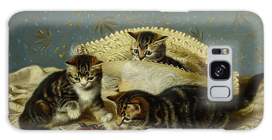 Kittens Up To Mischief (oil On Canvas) Kitten; Kittens; Cat; Cats; Mischief; Playing; Tablecloth; Rose; Naughty; Mischievous; At Galaxy S8 Case featuring the painting Kittens Up To Mischief by HH Couldery