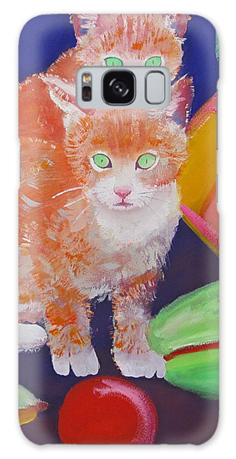 Kittens Galaxy Case featuring the painting kittens With A Ball of Wool by Charles Stuart