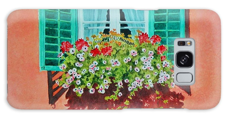 Window Box Galaxy S8 Case featuring the painting Kitzbuhel Window by Mary Ellen Mueller Legault
