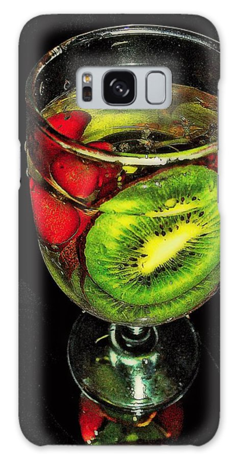 Rick Todaro Photography Galaxy S8 Case featuring the photograph Kiwi And Grapes In Wine Glass by Rick Todaro
