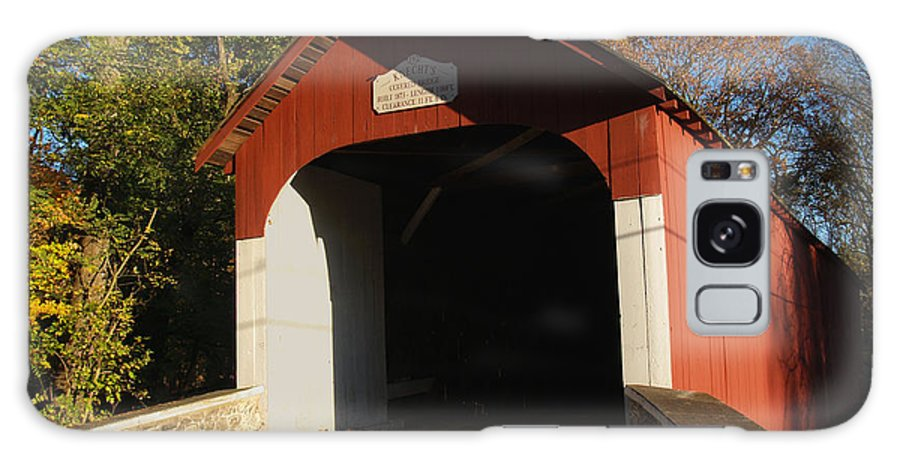 Bridge Galaxy S8 Case featuring the photograph Knecht's Covered Bridge In October In Bucks County Pa by Anna Lisa Yoder