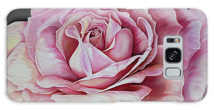 Rose Painting Pink Rose Painting  Floral Painting Flower Painting Botanical Painting Greeting Card Painting Galaxy Case featuring the painting La Bella Rosa by Karin Dawn Kelshall- Best