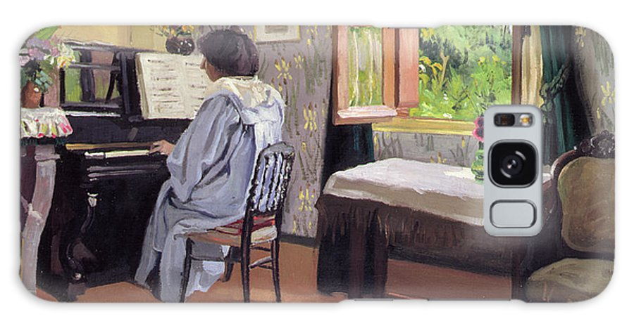 Interior Galaxy S8 Case featuring the painting Lady At The Piano by Felix Edouard Vallotton