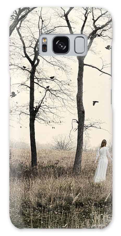 Woman Galaxy S8 Case featuring the photograph Lady In White In Autumn Landscape by Jill Battaglia