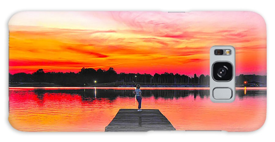 Beauty Galaxy S8 Case featuring the photograph Lady Pier End Red Sundown by Randall Branham