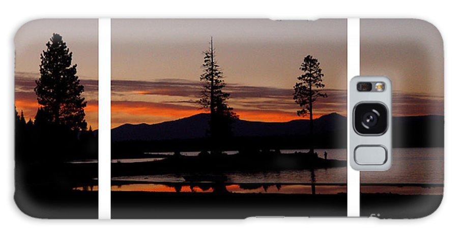 Lake Almanor Galaxy S8 Case featuring the digital art Lake Almanor Sunset Triptych by Peter Piatt
