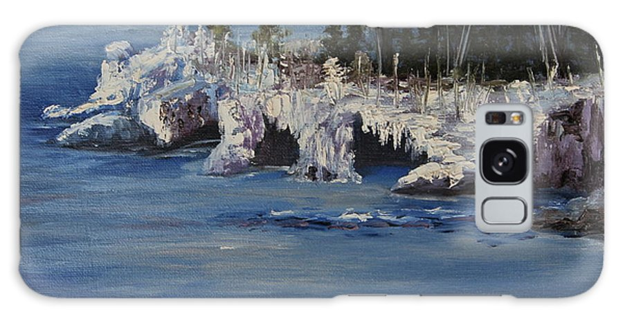 Landscape Galaxy S8 Case featuring the painting Lake Superior Ice Storm by Joi Electa