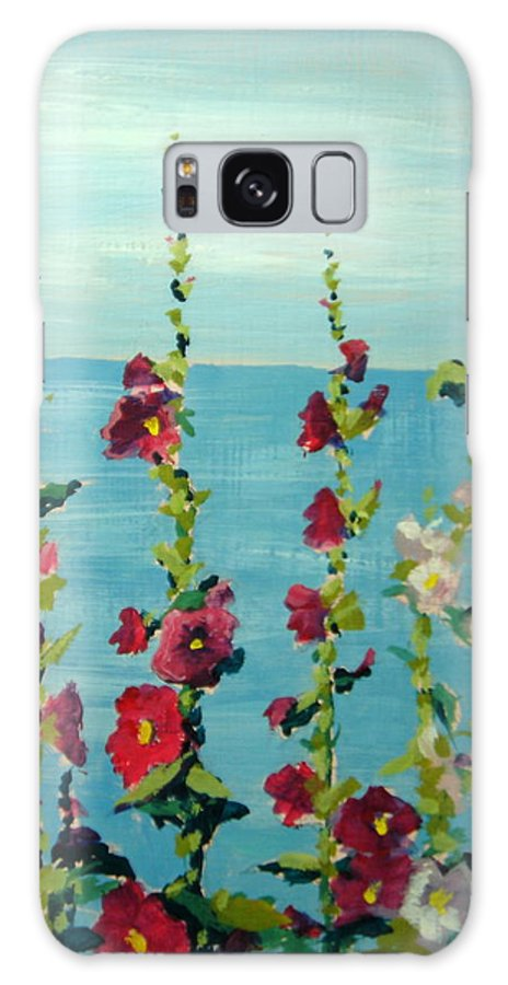 Lake Galaxy Case featuring the painting Lakeside Hollyhocks by Judy Fischer Walton