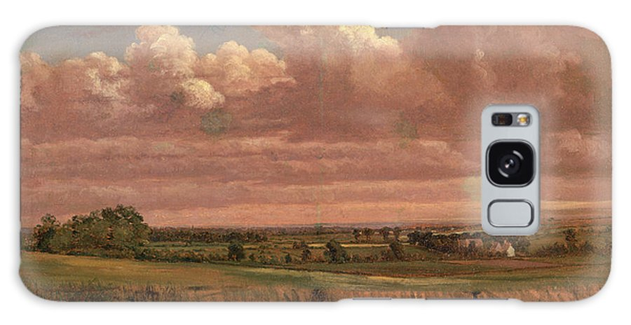 Oil On Canvas Galaxy S8 Case featuring the painting Landscape With Wheatfield Cornfield Under Heavy Cloud by Litz Collection