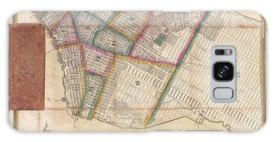 A Very Obscure Pocket Map Of New York City Issued In 1831 By J. Langdon Of 151 Fulton Street. Oriented To The West Galaxy S8 Case featuring the photograph Langdon Pocket Map Of New York City by Paul Fearn