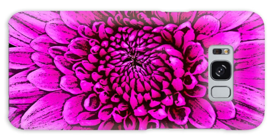 Pink Dahlias Galaxy S8 Case featuring the mixed media Large Pink Dahlia Retro Style by Joan-Violet Stretch