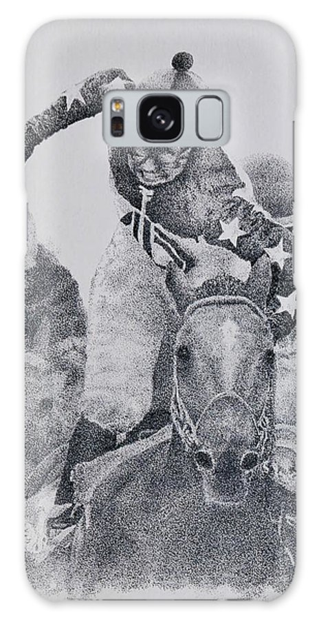 Horses Horse Racing Jockeys Racetrack Azeri Thorobreds Galaxy Case featuring the painting Last Call by Tony Ruggiero