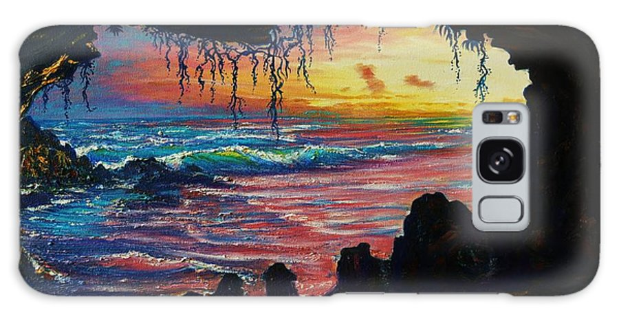 Seascape Ocean Cave Light Sunset Water Sea Rocks Shore Sand Sweeping Surf Plants Tropical Moody Glow Light Mist Syterious Dark Sky Wet Remote Dream Fantasy Galaxy S8 Case featuring the painting Last Light by Joseph  Ruff