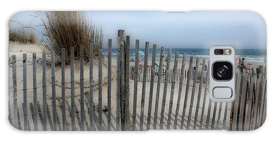 Landscapes Beach Art Sand Art Fence Wood Sky Blue Summertime Ocean Galaxy S8 Case featuring the photograph Last Summer by Linda Sannuti