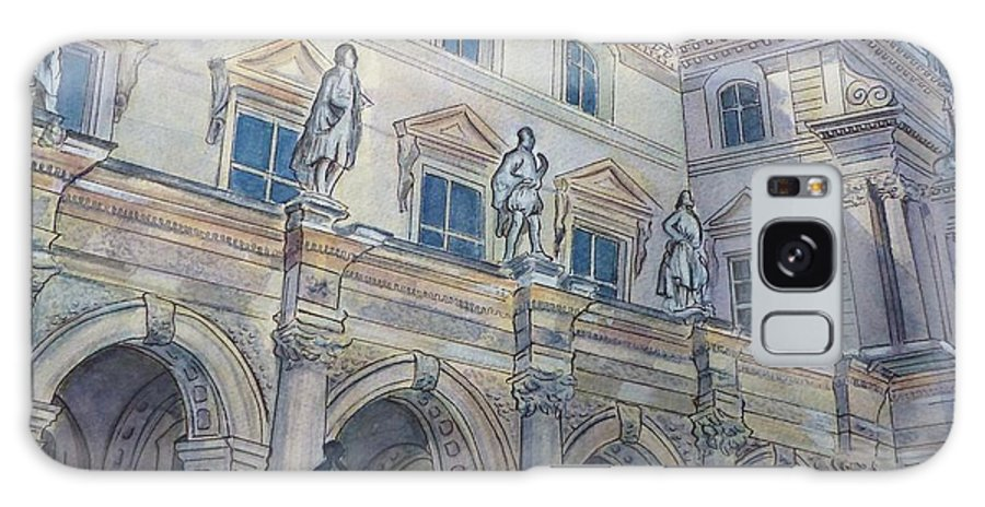 Architecture Galaxy S8 Case featuring the painting Le Louvre IIi by Henrieta Maneva