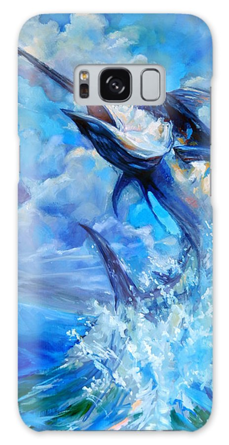 Marlin Galaxy S8 Case featuring the painting Leaping Marlin by Tom Dauria