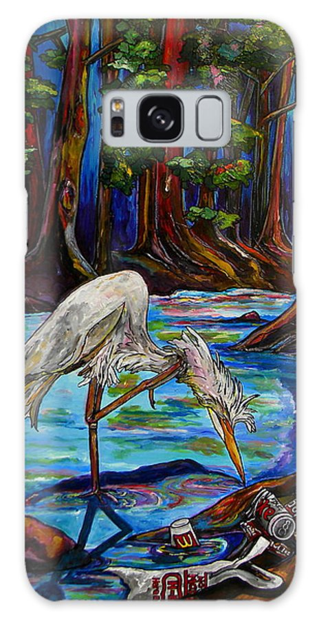 Egret Galaxy S8 Case featuring the painting Leave Only Footprints by Patti Schermerhorn