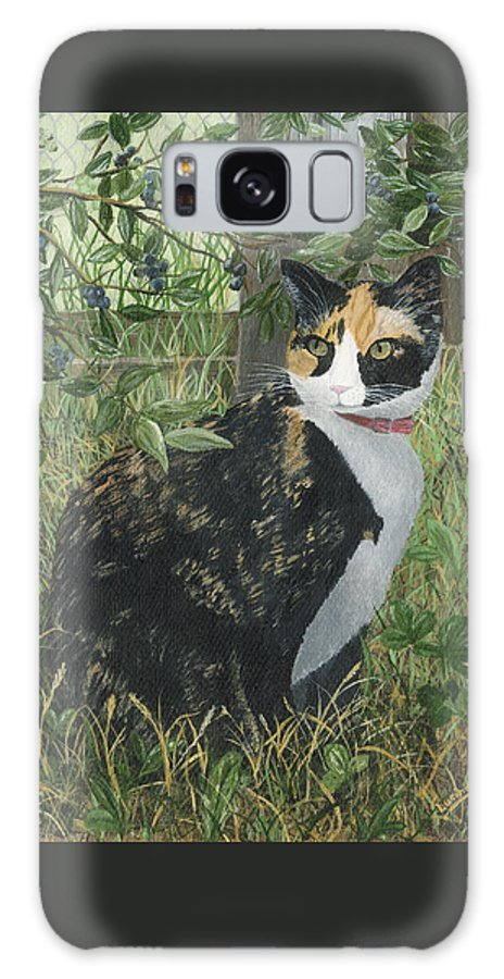 Cat Galaxy S8 Case featuring the painting Leia Cat In Blueberries by Lucinda VanVleck