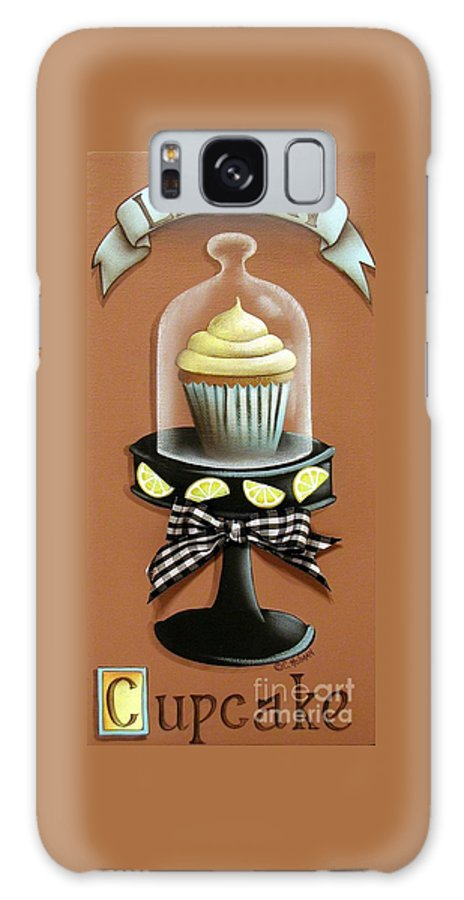 Art Galaxy S8 Case featuring the painting Lemon Cupcake by Catherine Holman