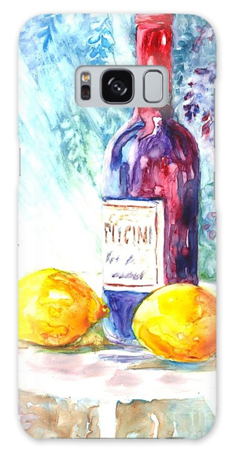 Wine Galaxy S8 Case featuring the painting Lemons And Wine And A Little Sunshine by Carol Wisniewski