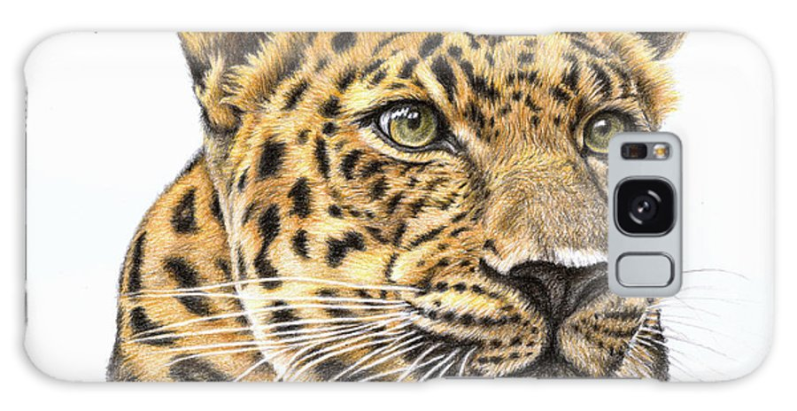 Leopard Galaxy Case featuring the drawing Leopard by Nicole Zeug