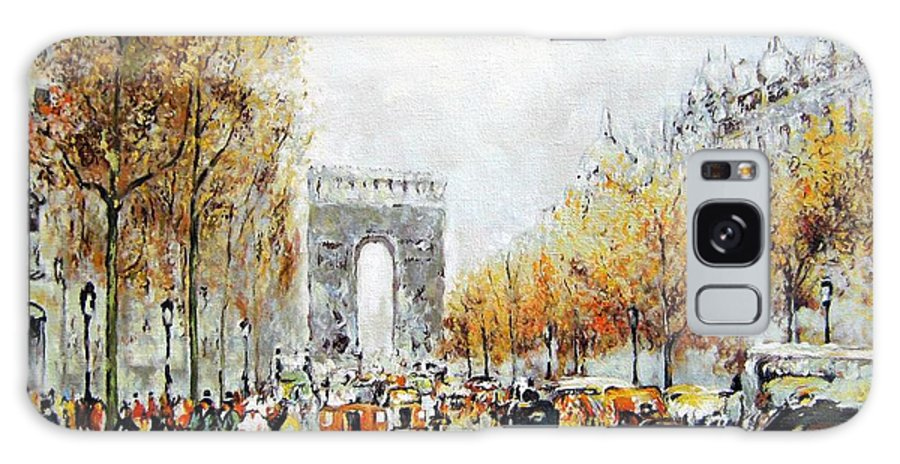 Cityscape Galaxy S8 Case featuring the painting Les Champs Elysees by Schmidt Roger