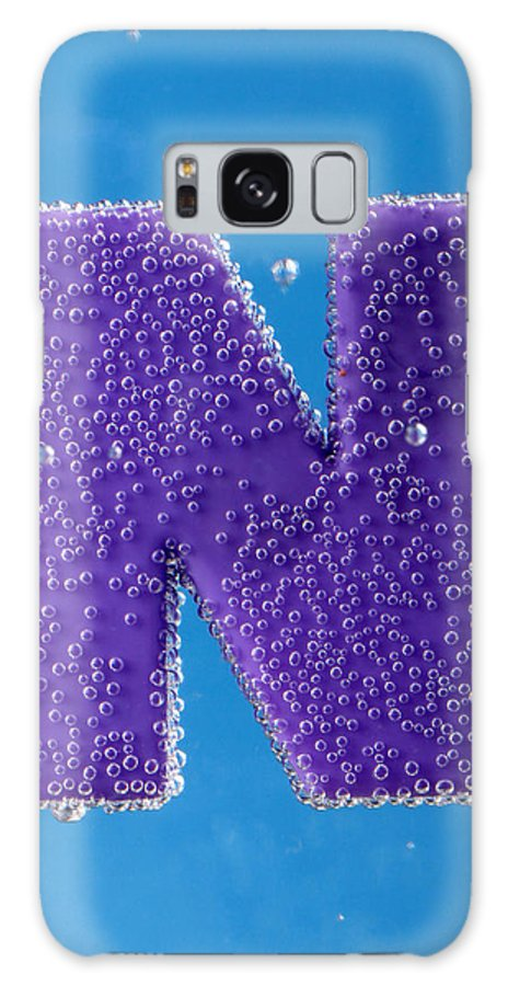 Bubble Font Letter Type Print Great-primer Typeface Character Bleb Air-bladder Bulb Water Liquid Fluid Scantiness Blue Azure Cyan Photograph Photo Photography Chromophotography Color N Galaxy S8 Case featuring the photograph letter N underwater with bubbles by Dmitriy Lokash
