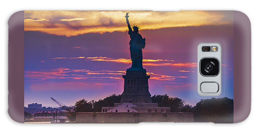 Liberty Galaxy S8 Case featuring the photograph Liberty Statue Silhouette Sunset by Maria isabel Villamonte