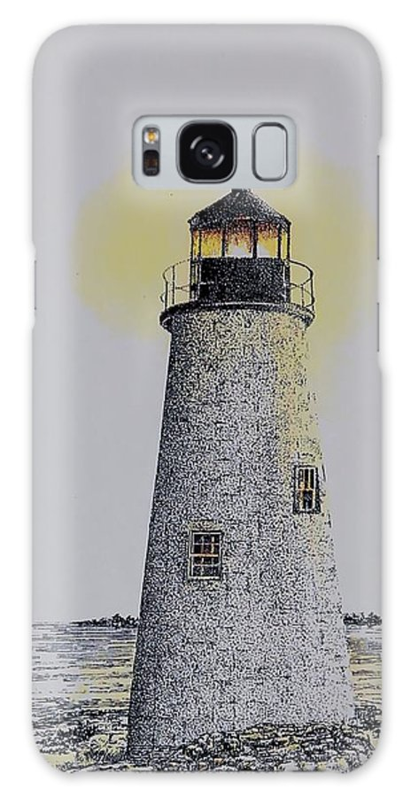 New England Lighthouse Seascape Landscape Pen & Ink Watercolor Coastline Connecticut Galaxy Case featuring the painting Light On The Sound by Tony Ruggiero