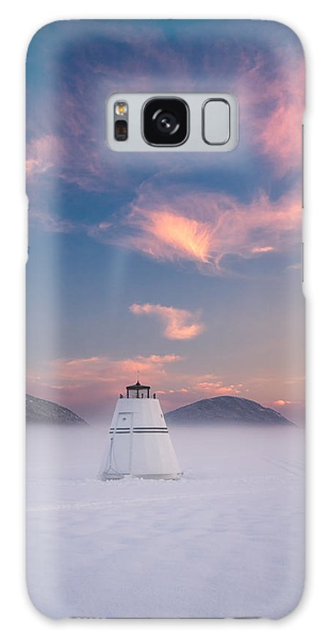 #eagle#lake#winter#sunset#acadia#national#park#landscape Galaxy S8 Case featuring the photograph Lighthouse In The Mountains by Darylann Leonard Photography