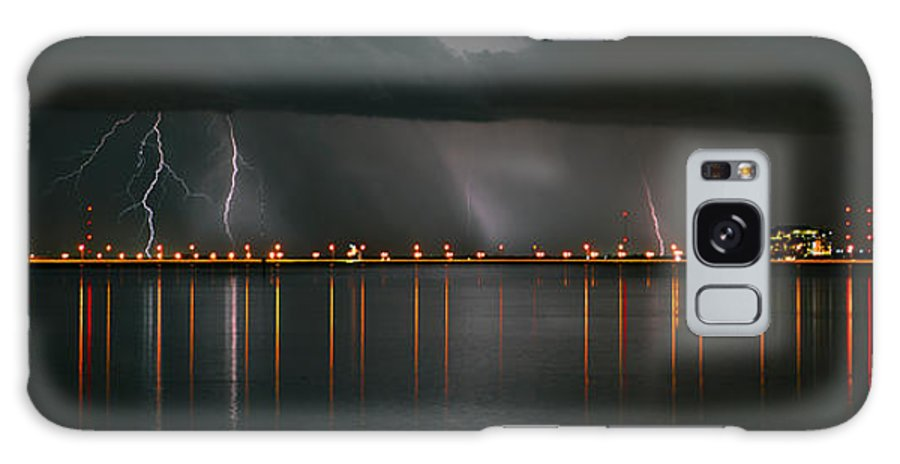 Lightning Storm Galaxy S8 Case featuring the photograph Lightning Storm Pano Work A by David Lee Thompson