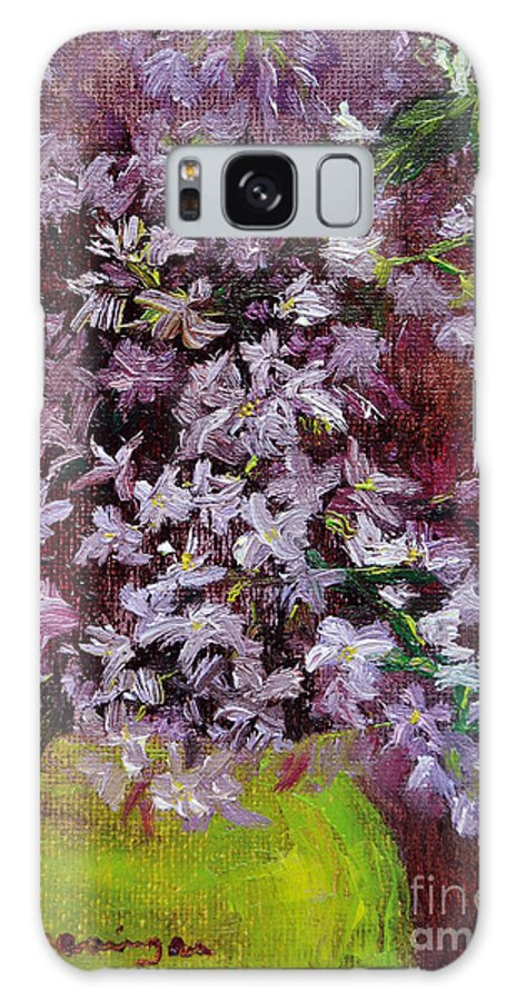 Lilac Galaxy S8 Case featuring the painting Lilacs by Cindy Roesinger
