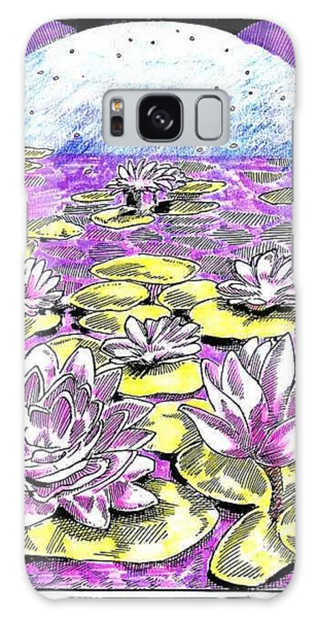 Lilies Of The Lake Galaxy S8 Case featuring the drawing Lilies of the Lake by Seth Weaver
