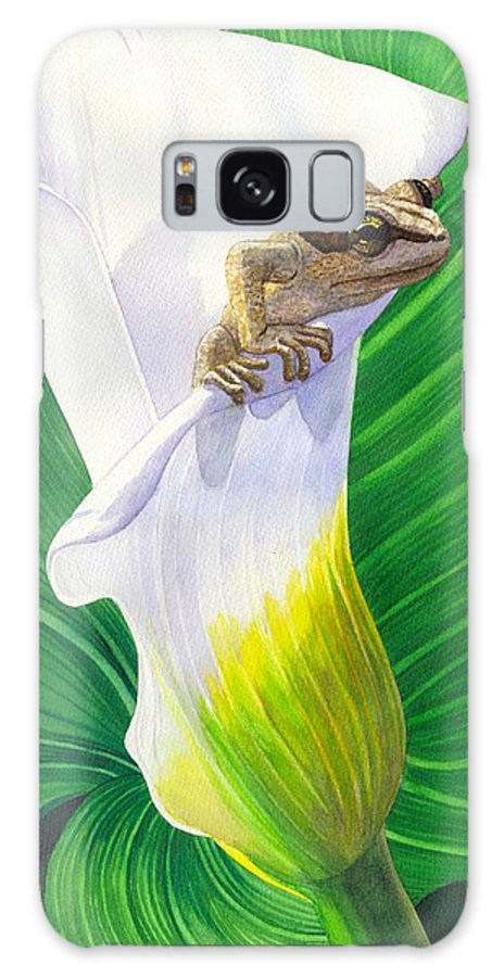 Frog Galaxy Case featuring the painting Lily Dipping by Catherine G McElroy