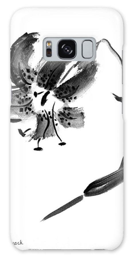 Lily Galaxy Case featuring the painting Lily In Black by Patricia Novack
