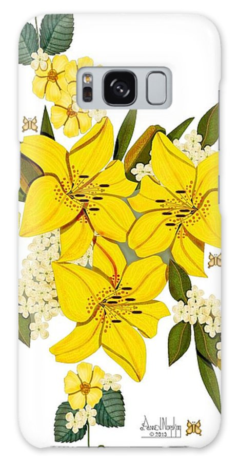 Anne Norskog Art Galaxy S8 Case featuring the painting Lily Triplets by Anne Norskog