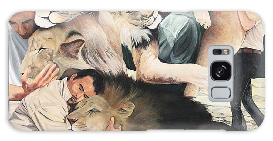 Lion Hug Galaxy S8 Case featuring the painting Lion Hugs by Cory Calantropio