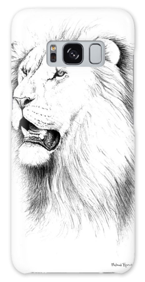 Lion Galaxy S8 Case featuring the drawing Lion Portrait by Michael Blanco