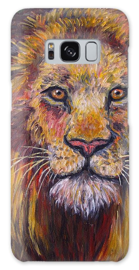 Lion Galaxy S8 Case featuring the painting Lion Stare by Kendall Kessler