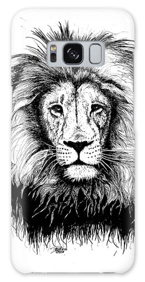 Lion Galaxy S8 Case featuring the drawing Lionking by Petra Stephens