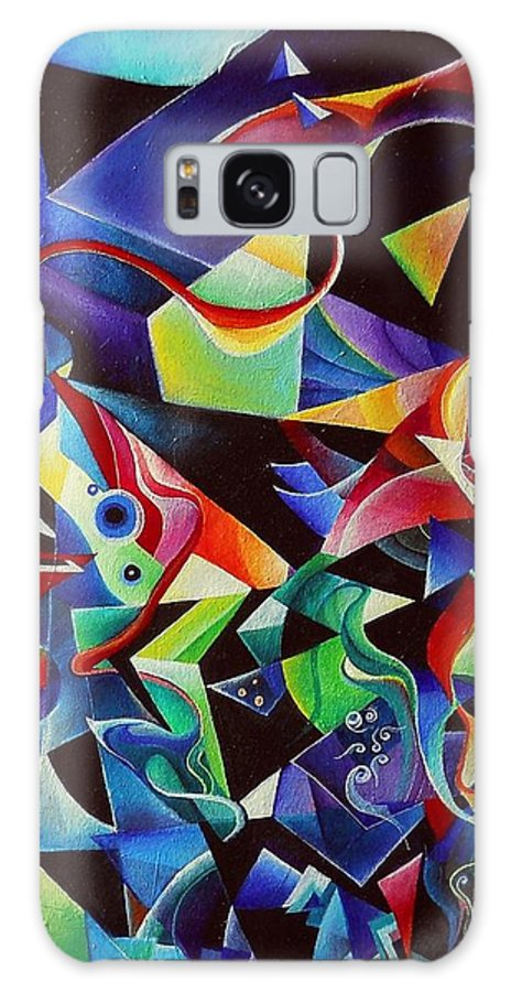 Arnold Schoenberg Piano Concert No.1 Acrylic Abstract Pens Music Galaxy Case featuring the painting listening to piano concert op.42 of Arnold Schoenberg by Wolfgang Schweizer