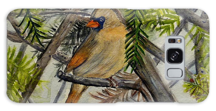 Cardinal Galaxy S8 Case featuring the painting Little Birdie by Melly Terpening