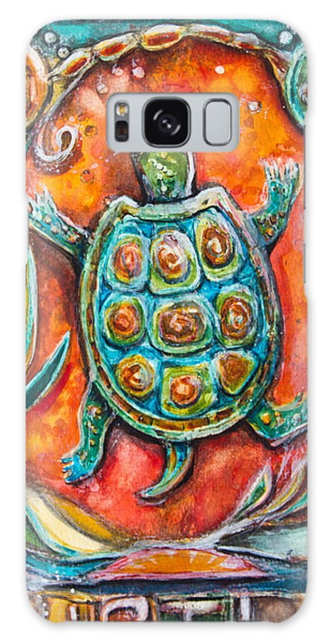 Art Galaxy S8 Case featuring the mixed media Little Brother Turtle II by Patricia Allingham Carlson