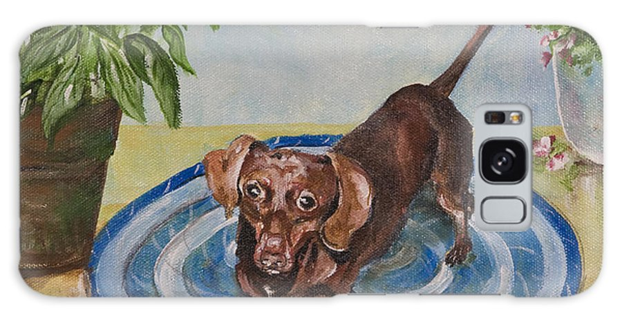 Animal Galaxy S8 Case featuring the painting Little Dachshund Puppy by Carolyn Bell