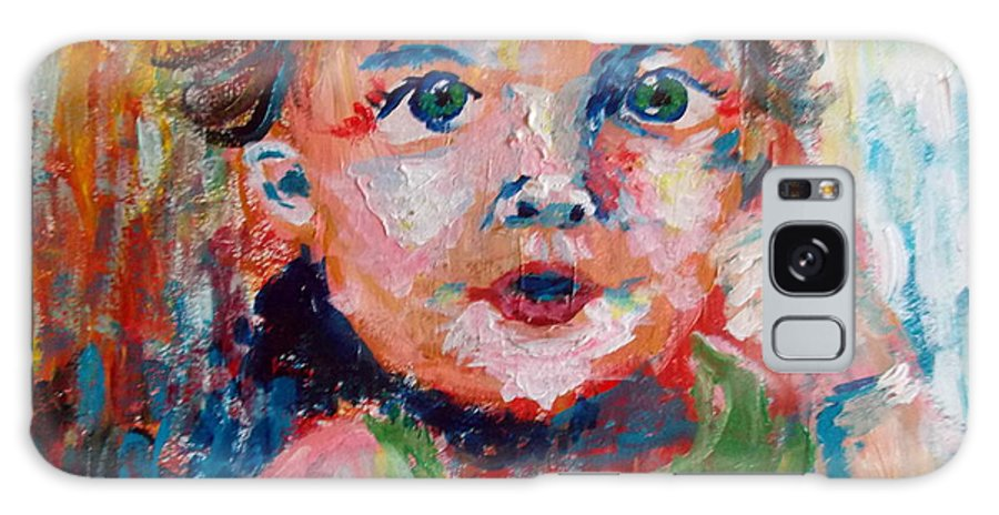 Abstract Galaxy S8 Case featuring the painting Little Girl by Niceliz Howard
