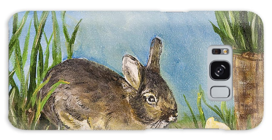 Painting Galaxy S8 Case featuring the painting Little Pet Bunny by Carolyn Bell