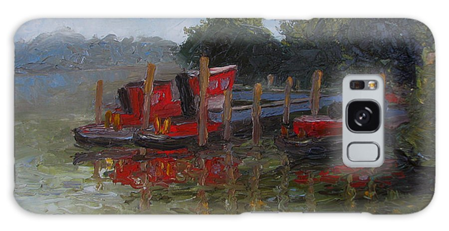 Oil Painting Galaxy S8 Case featuring the painting Little Tugs In Holland Michigan by Art Nomad Sandra Hansen